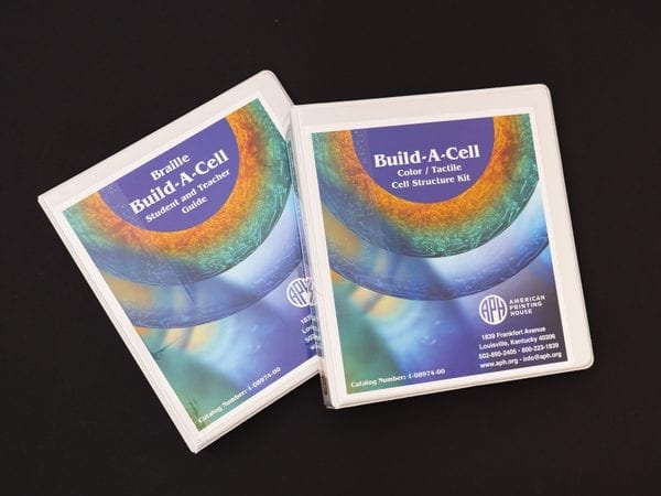 Braille Build-A-Cell Student and Teacher Guide binder and Build-A-Cell Color / Tactile Structure Kit binder.