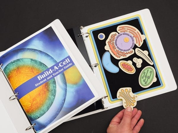 Print Build-A-Cell Student and Teacher Guide cover and Build-A-Cell Color / Tactile Structure Kit binder opened to show the plant cell.