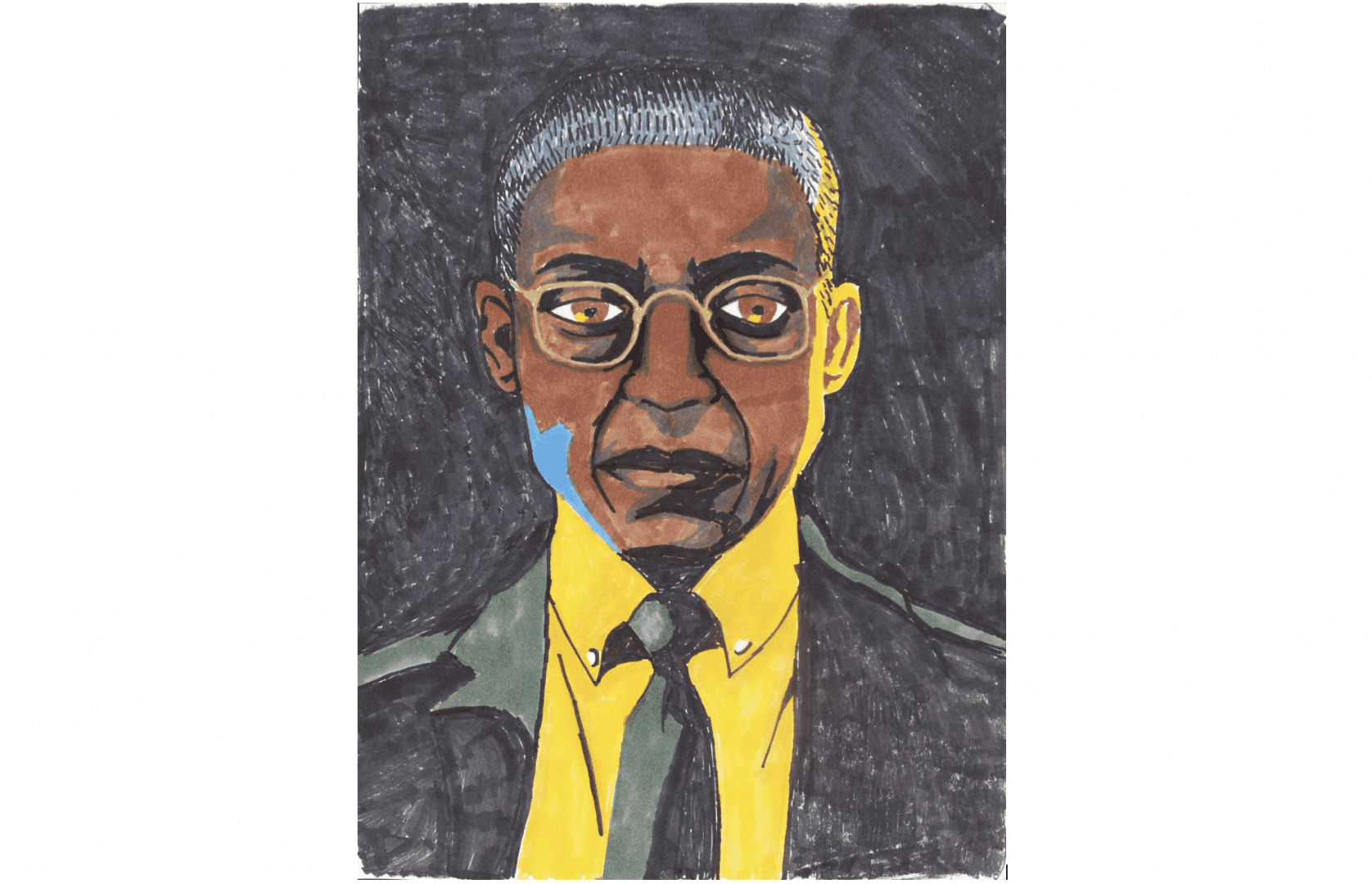 portrait of a person with medium brown skin, short gray or shiny hair, eyeglasses, and wearing a coat and tie