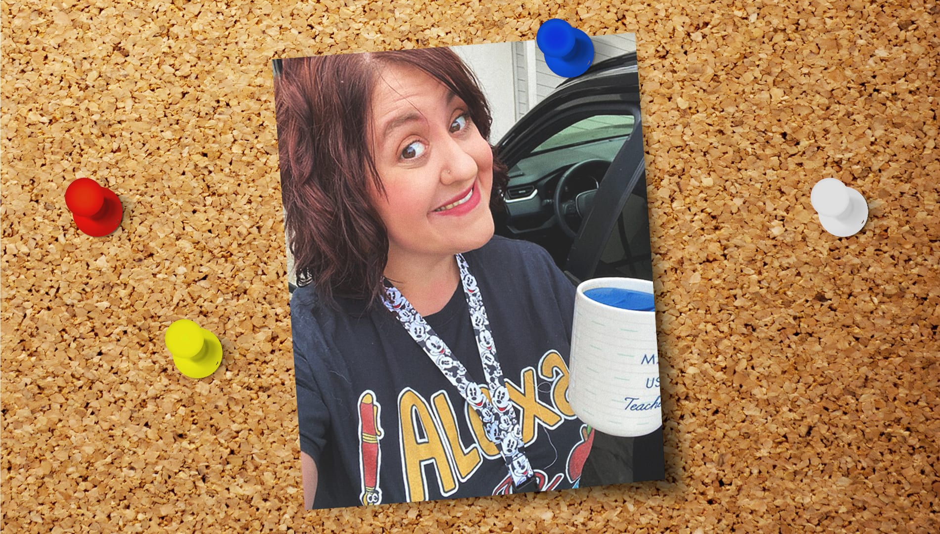 a picture of Elizabeth Umphress with a coffee mug pinned to a cork board with colorful thumbtacks around it