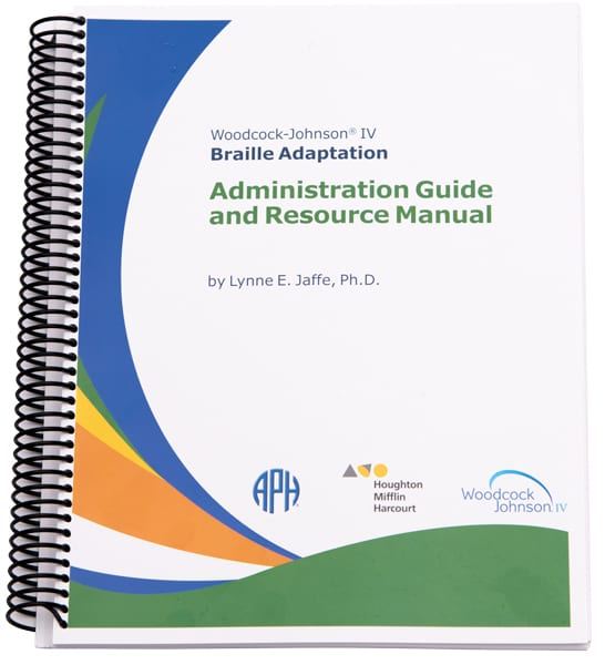 Spiral bound Woodcock-Johnson IV Administration Guide and Resource Manual for braille kit