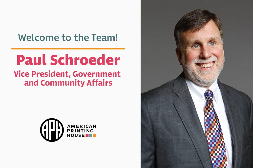 "text reads ""Welcome to the team! Paul Schroeder, Vice President, Government and Community Affairs"" aph logo. headshot photo of Paul smiling"
