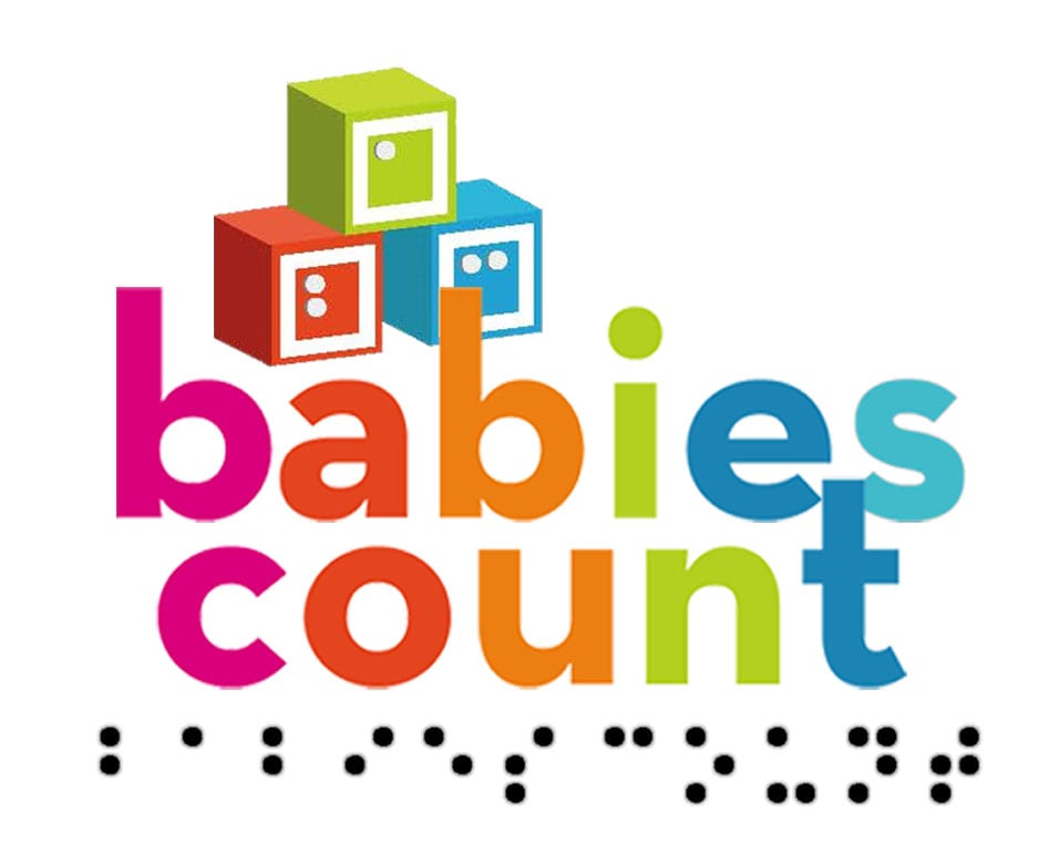 Babies Count logo is 3 color blocks stacked in a triangle above the text with braille text below the logo