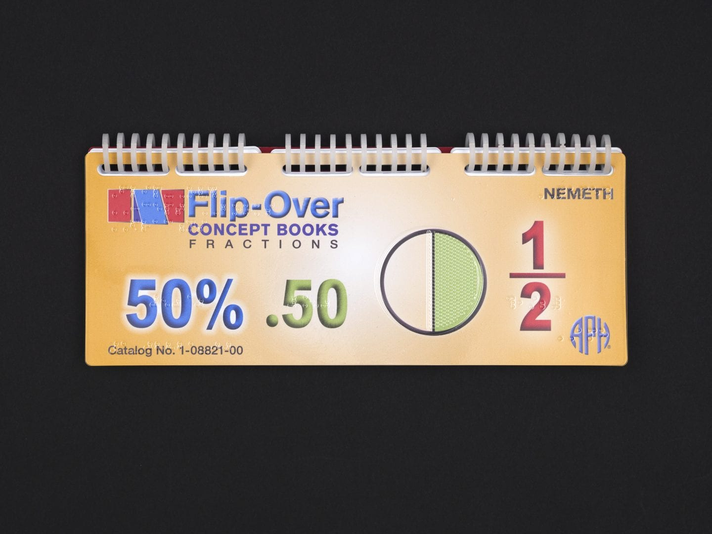 the Flip-Over Concept Book:Fractions spiral bound book on a black background
