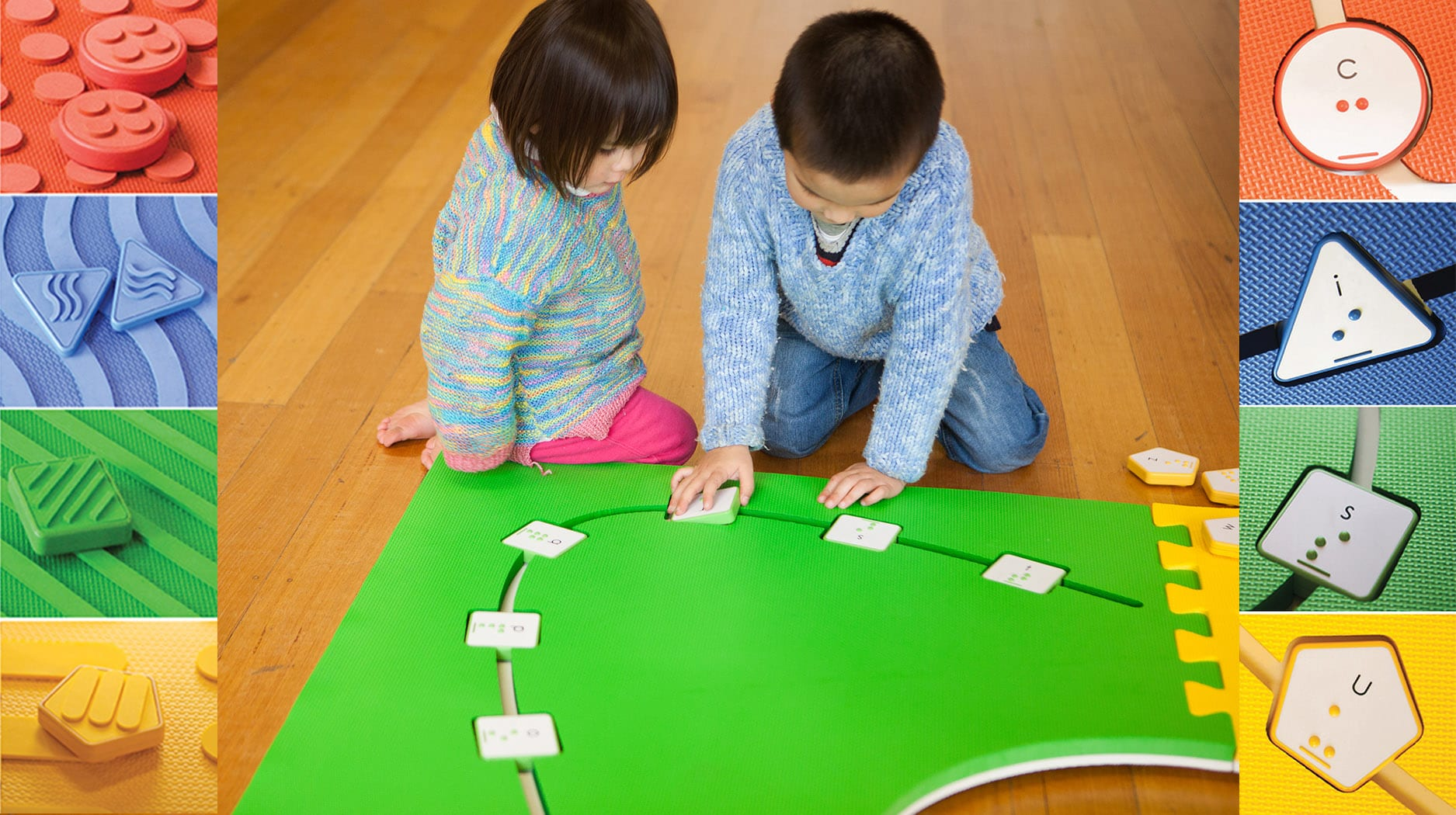 Photo shows two young children place square tiles in the cutouts of the green mat. Along the side vertically are images of red, blue, green, and yellow mats with matching tiles.