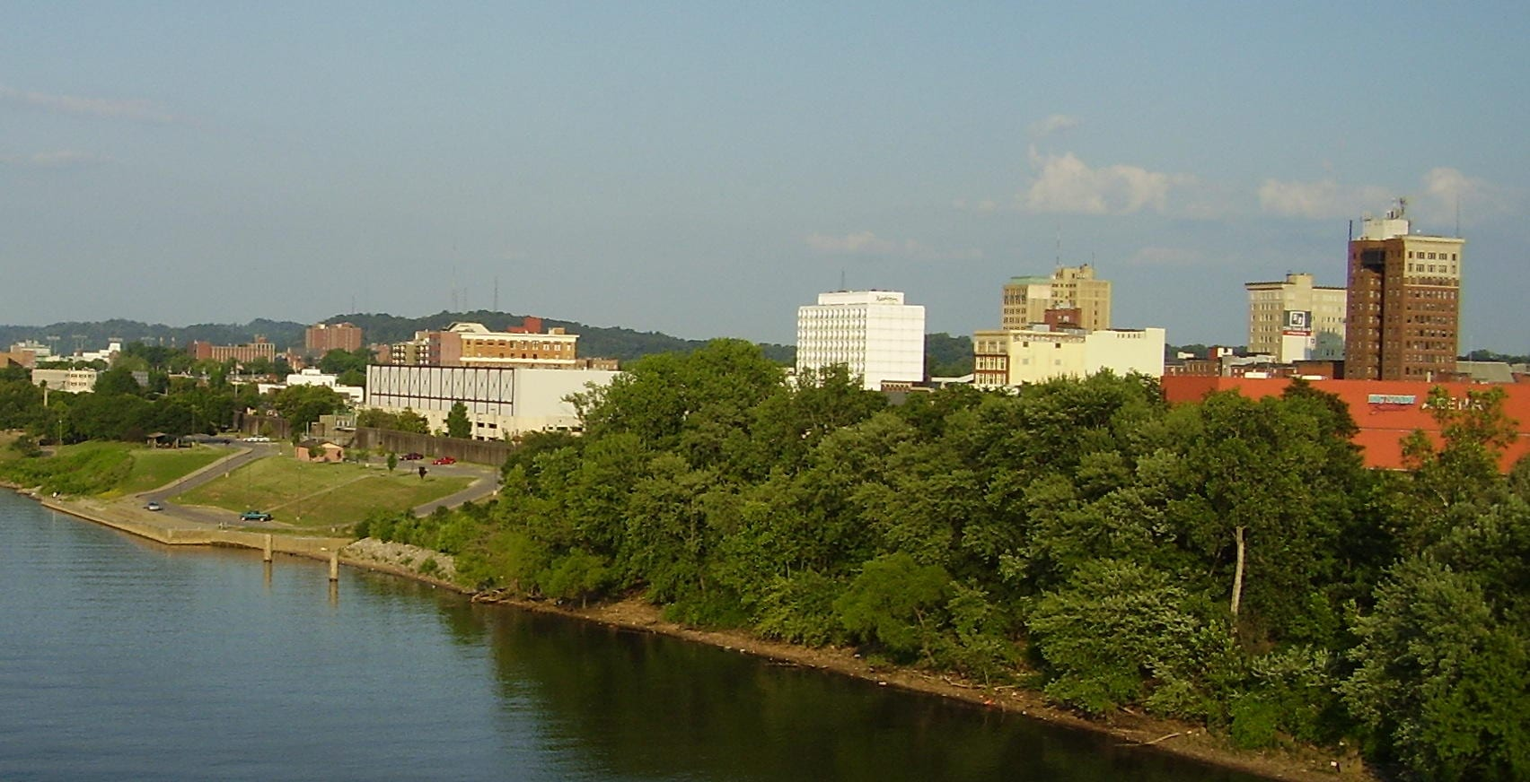 Skyline and trees of Huntington West Virginia as seen from the river