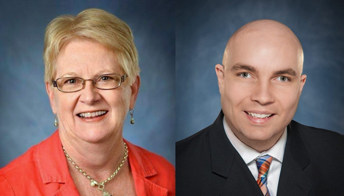 Side by side headshot photos of Dr. Marjorie Kaiser and Russell Shaffer