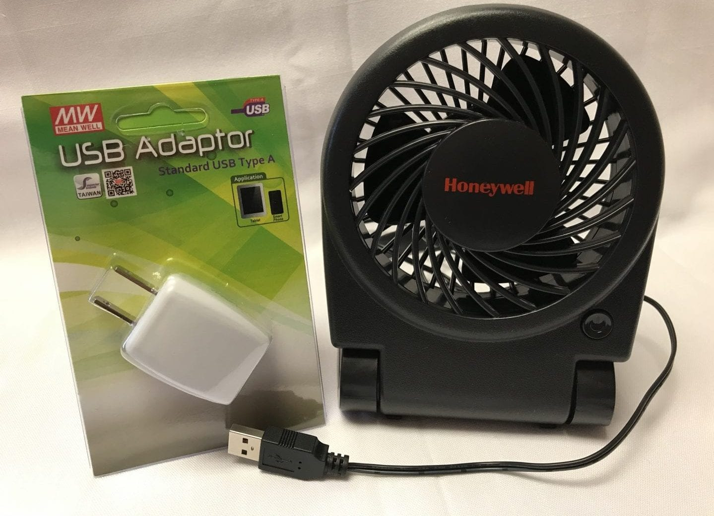 turbo fan, usb cable, and plug adapter