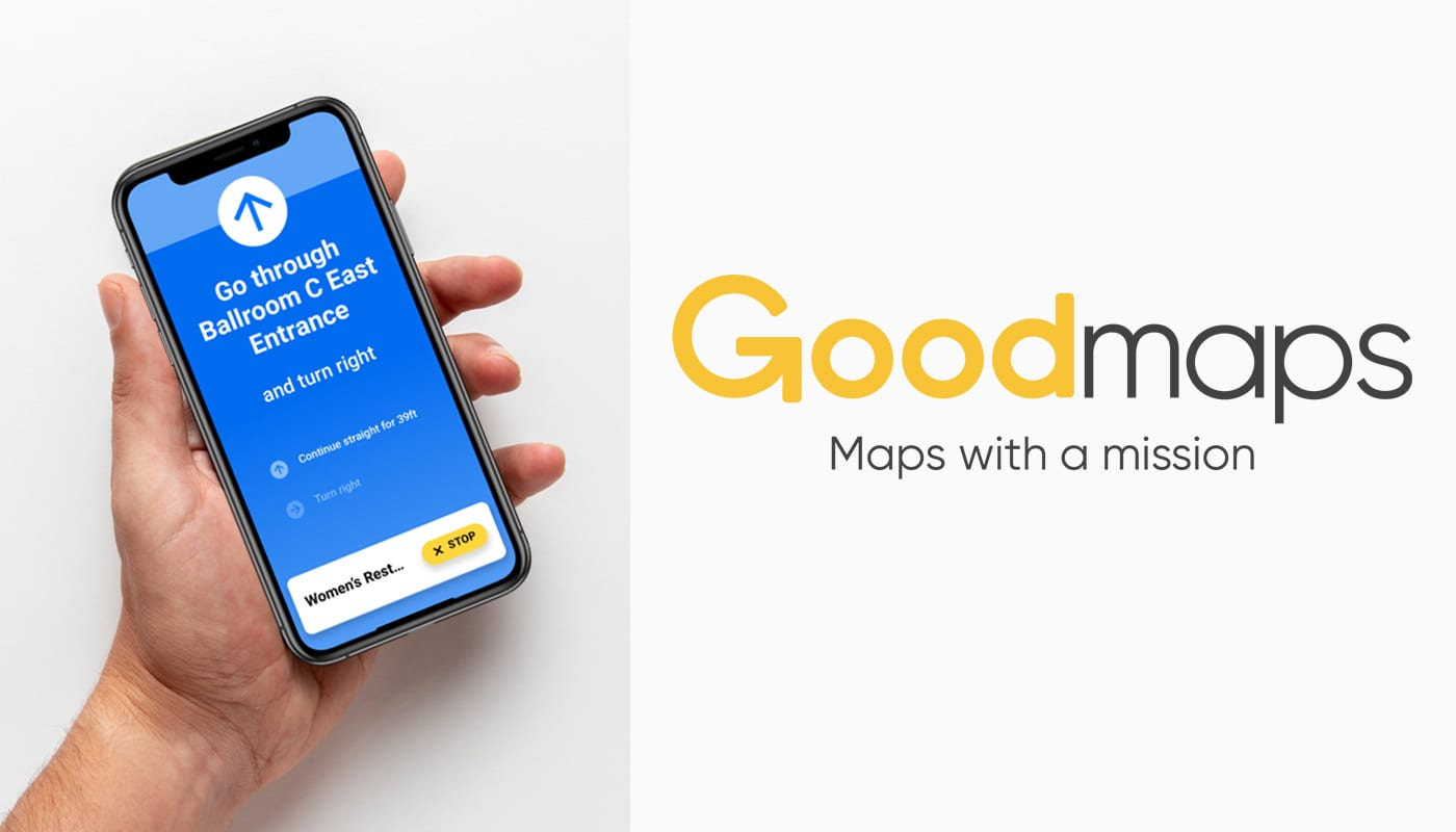 """a hand holding a phone with the GoodMaps explore app open on it. GoodMaps logo """"Maps with a mission"""""""
