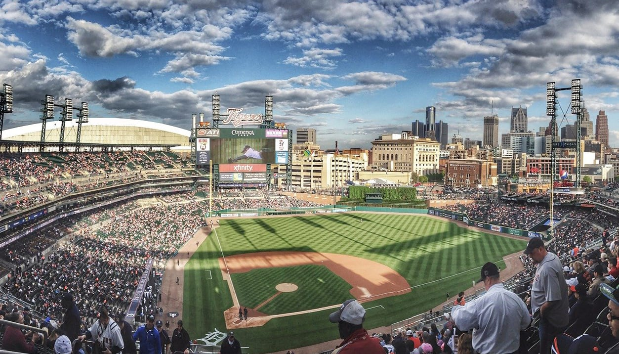 a panoramic view of a major league baseball stadium full of fans