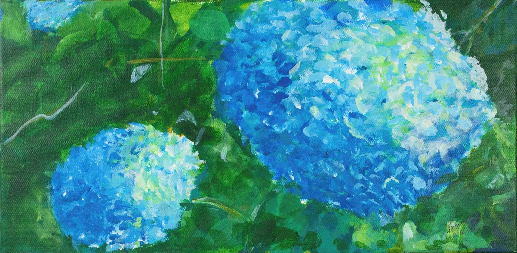Acrylic paint on canvas is the medium used for this realistic floral still-life depicting a close-up of a beautiful blooming blue hydrangea bush.
