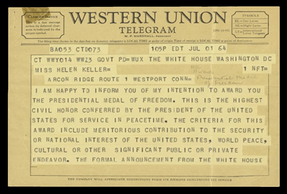 A Western Union telegram dated July 1, 1964. It is to Helen Keller and from President Johnson. The text explains his intention to award her the Presidential Medal of Freedom.