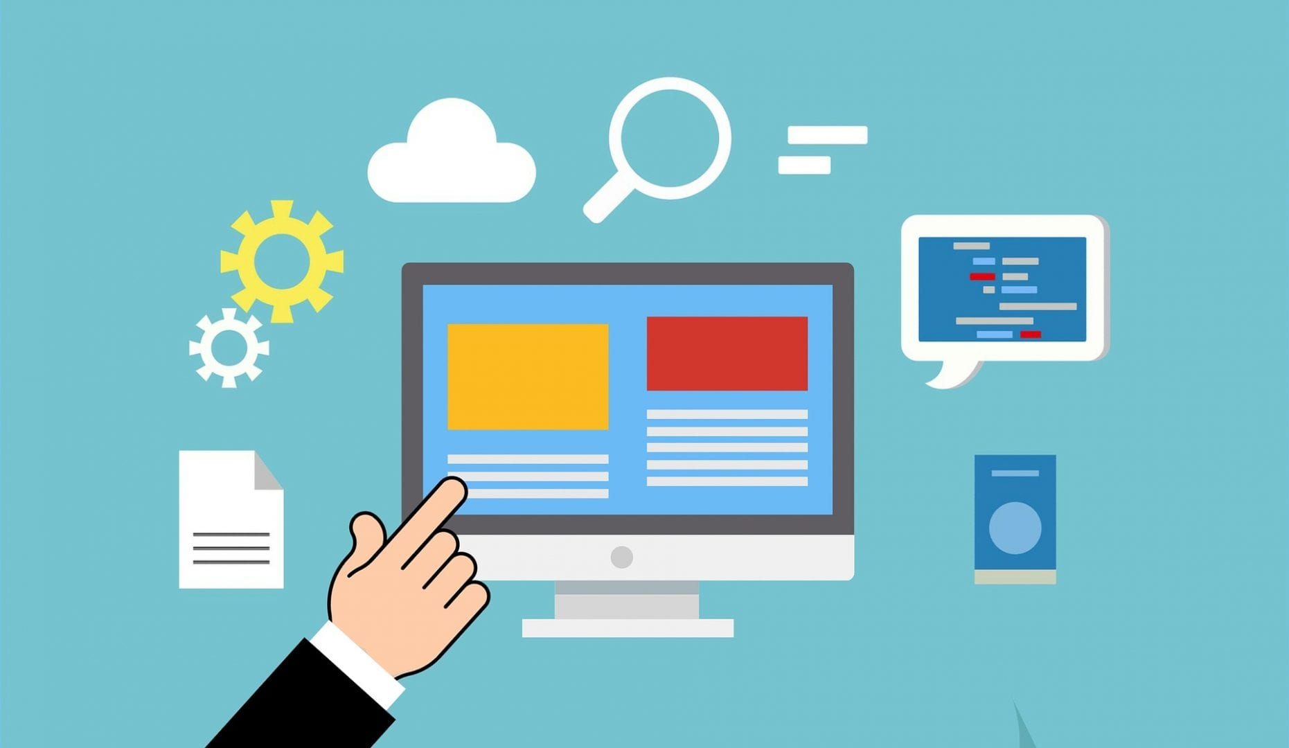 graphic of a hand pointing to a computer screen shwoing a mock up of a web page. Surrounding the computer screen is graphic representation of a piece of paper, two cogs, a cloud, a magnifying glass, and a chat bubbble.