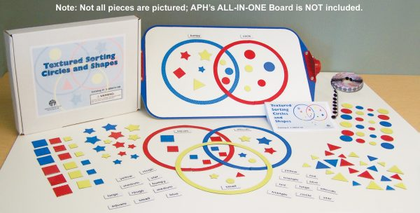 Textured Sorting Circles and Shapes Kit, not all pieces are pictured. All-in-One Board in photo is not included in kit