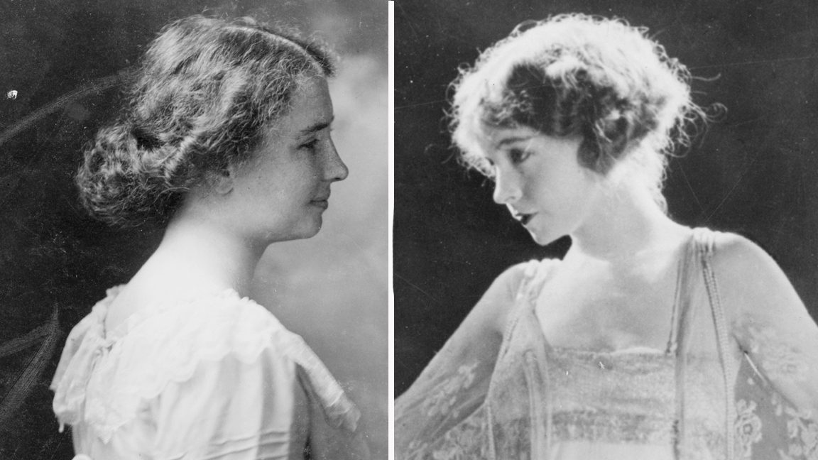 side by side black and white portraits of Helen Keller and Lillian Gish