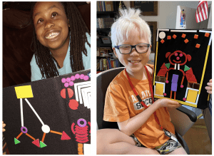 side by side photos of two students using the picture maker tactile diagram kit. Student on the left has built a flow chart, student on the right has built a the figure of a person