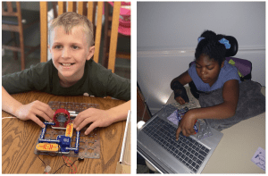 Side by side photos of students with snap circuits jr kits. Student on the right smiles in front of a completed circuit including a fan. student on the left assembles pieces on the board in front of a laptop.