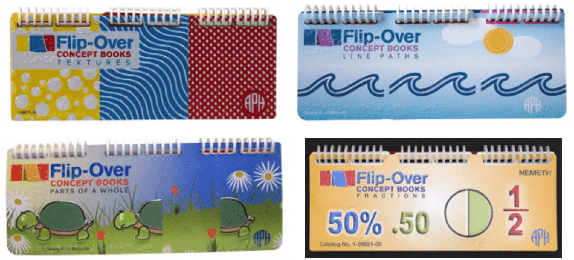 Collage of four Flip-Over Concept Books covers: Textures, Line Paths, Parts of a Whole, and Fractions
