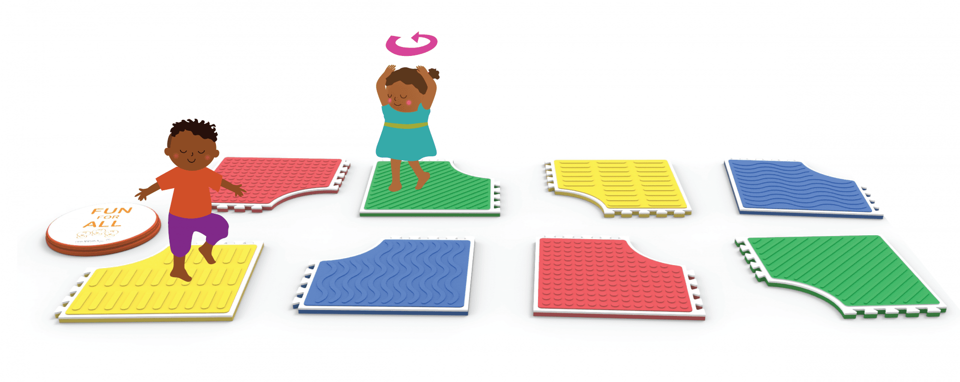 illustration of two students on different reach and match play mats lined up in two rows