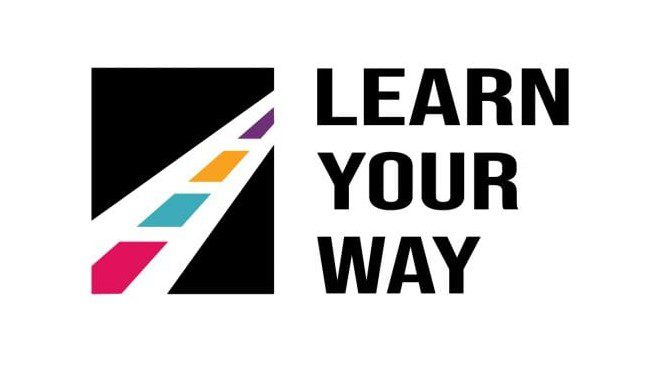 """APH Annual Meeting Logo. Text reads """"Learn Your Way"""" next to a graphic of a path made of  APH branding color squares"""