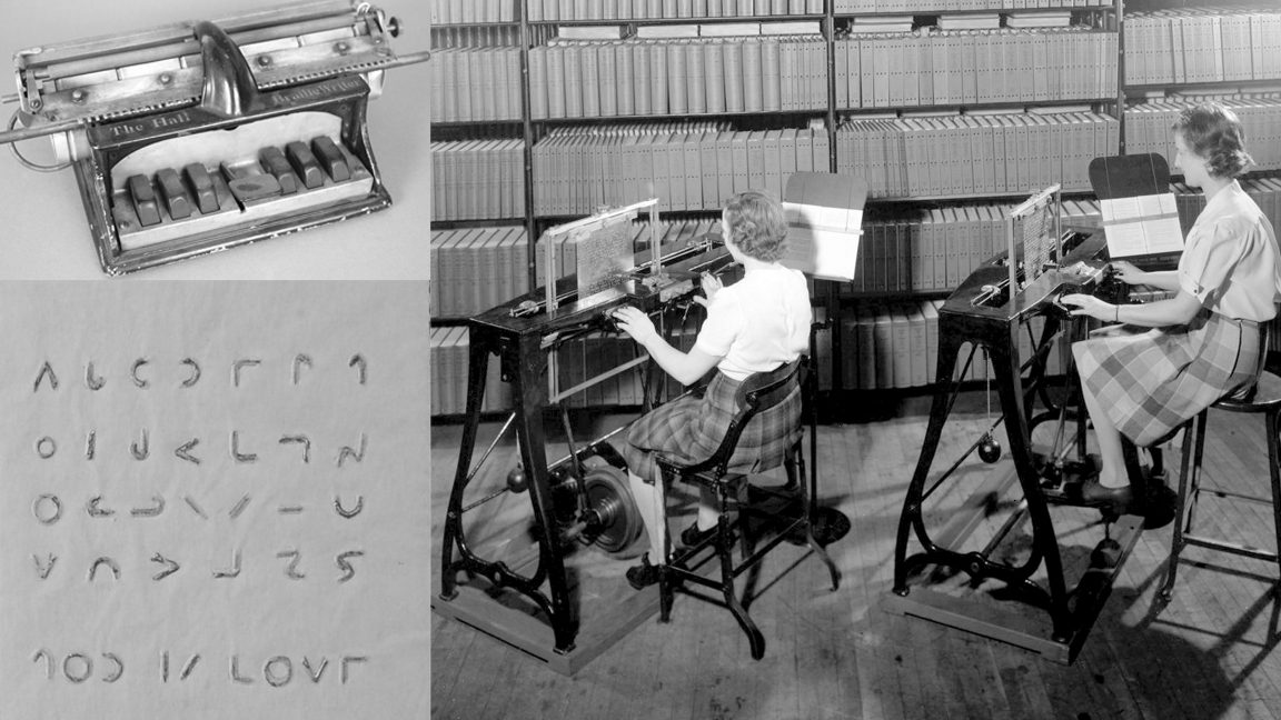 collage of three black and white photos. From top left going clockwise it shows a Hall braillewriter; two women typing braille printing plates with stereograph machines in 1945, and detail from a printing plate of Moon Type.