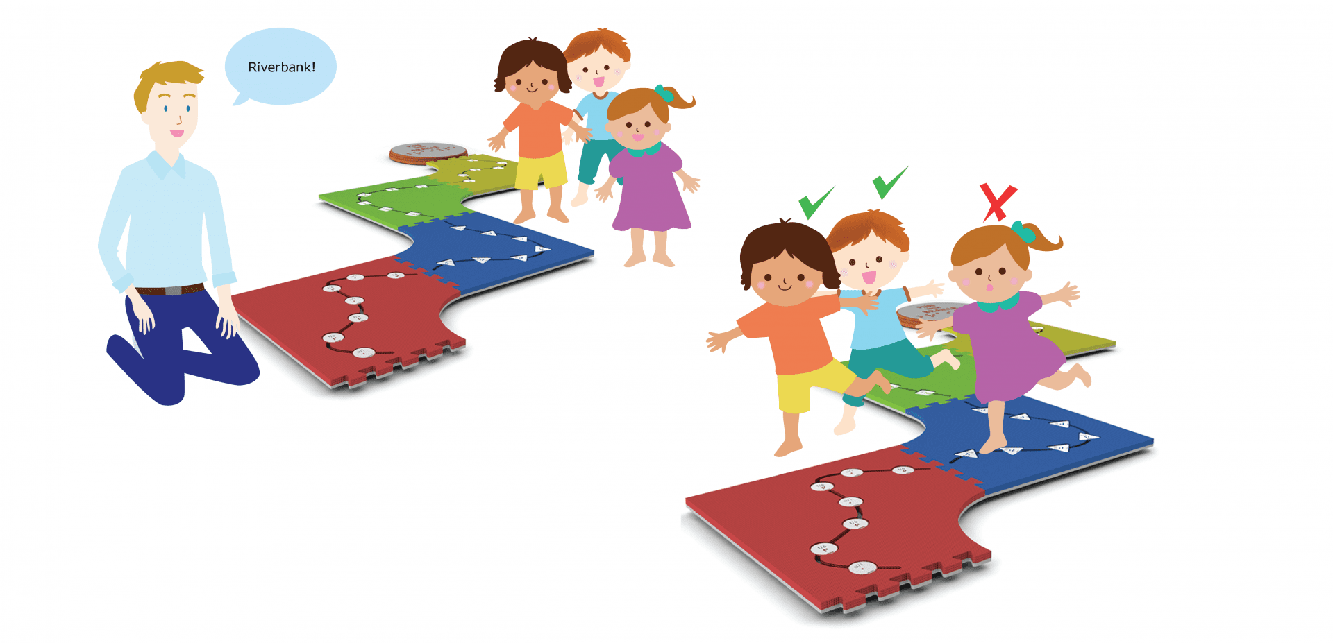 illustration of a teacher instructing three students playing Rover Crossing with Reach and Match
