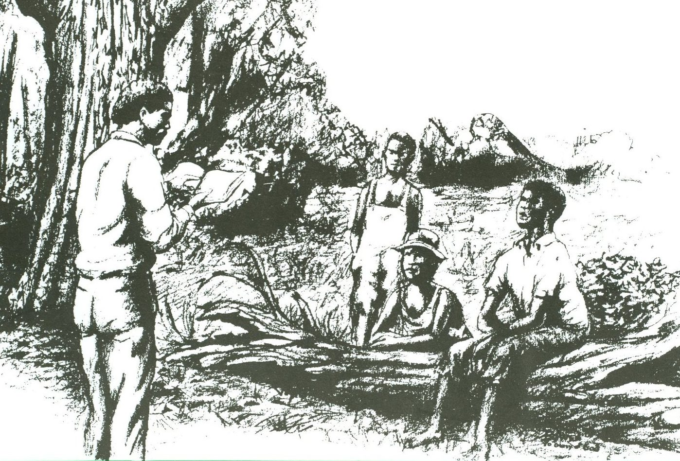 Pencil sketch of a forest scene set in a clearing, framed by a massive oak tree. One child sits on a fallen log. Another is sitting on the ground, resting his arms on the log, and a third stands nearby. All are watching a man, standing, reading to them from a book.