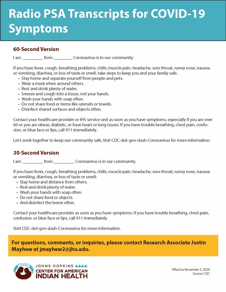 COVID-19 Symptoms Radio Transcript