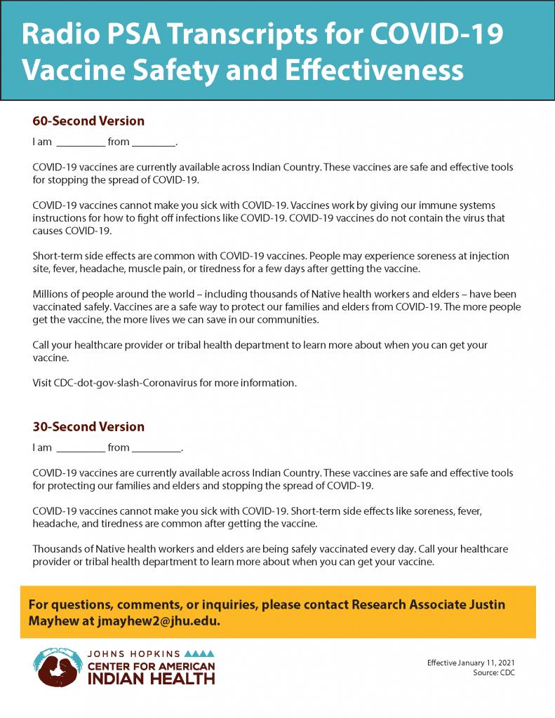 COVID-19 Vaccines Radio Transcript
