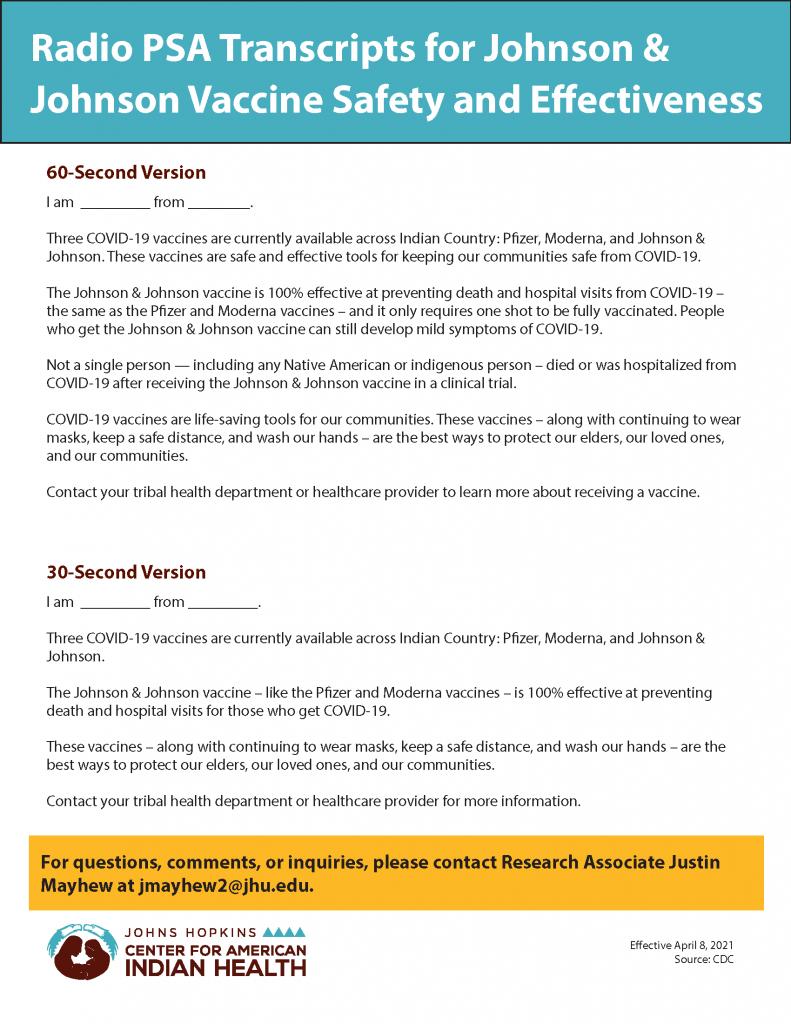 COVID-19 Johnson & Johnson Vaccine Radio Transcript