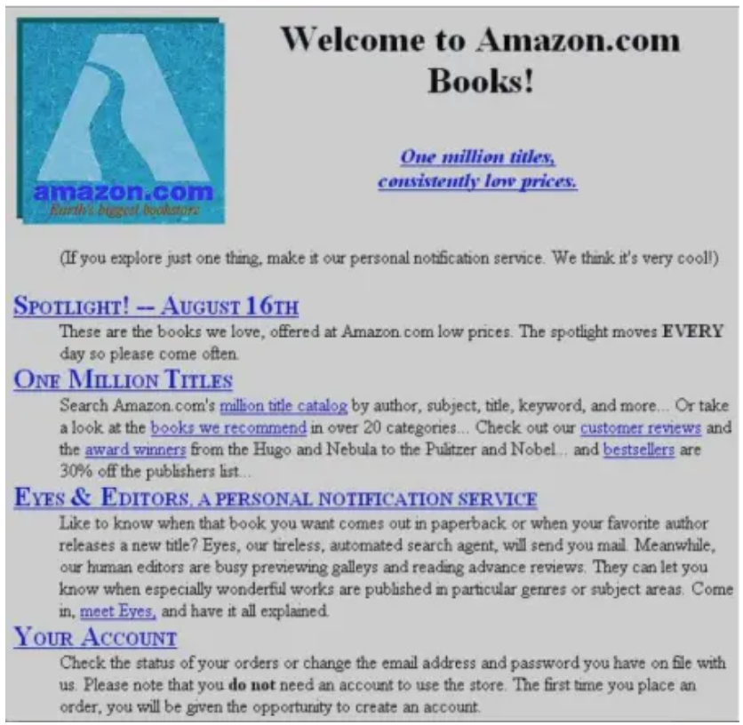 Amazon original homepage