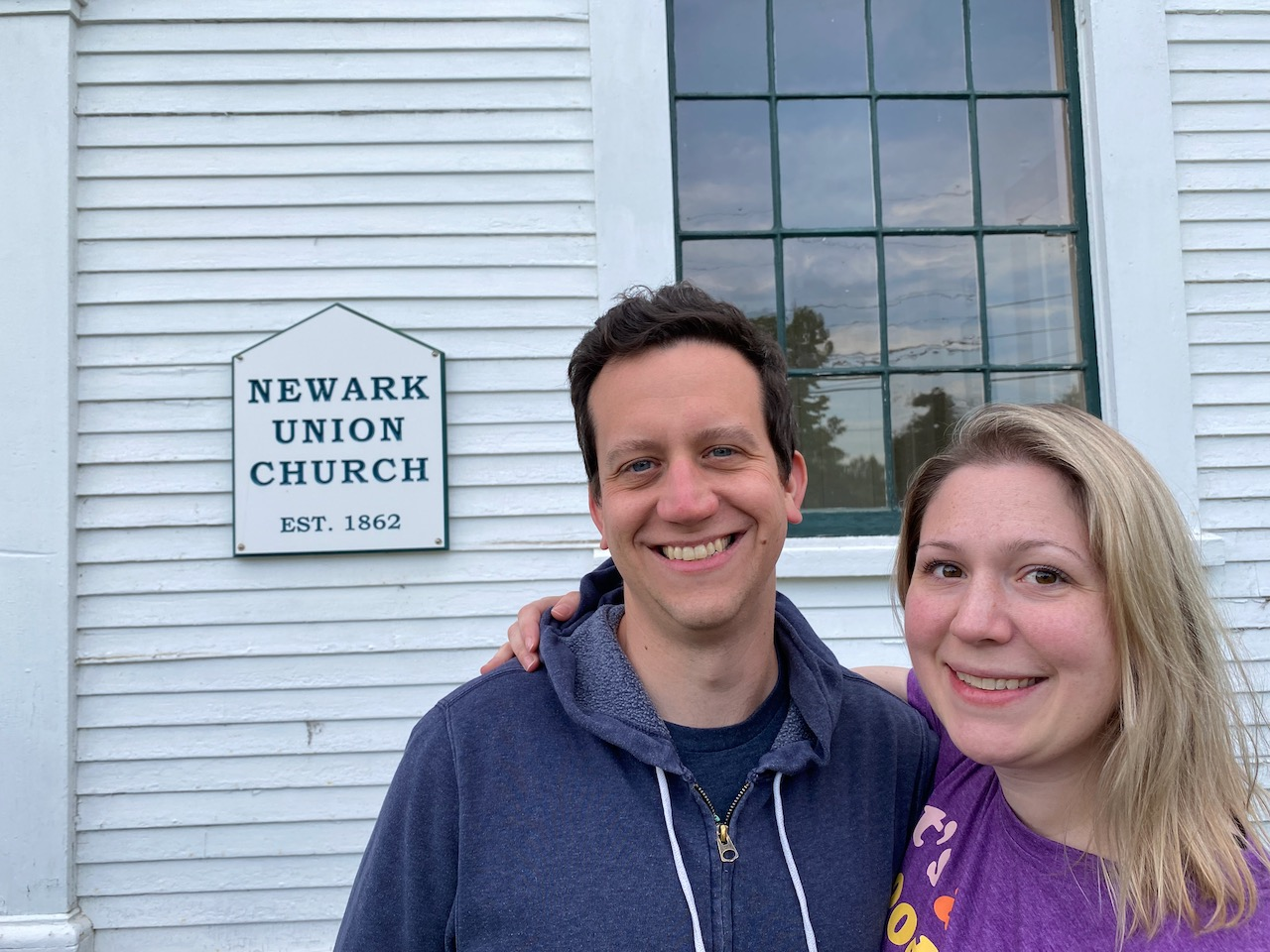 Me and Andrea in front of the Newark Union Church