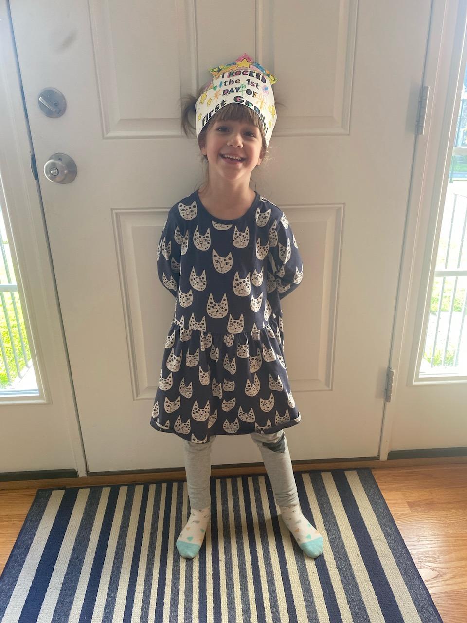 Lorelei wearing her first grade crown.