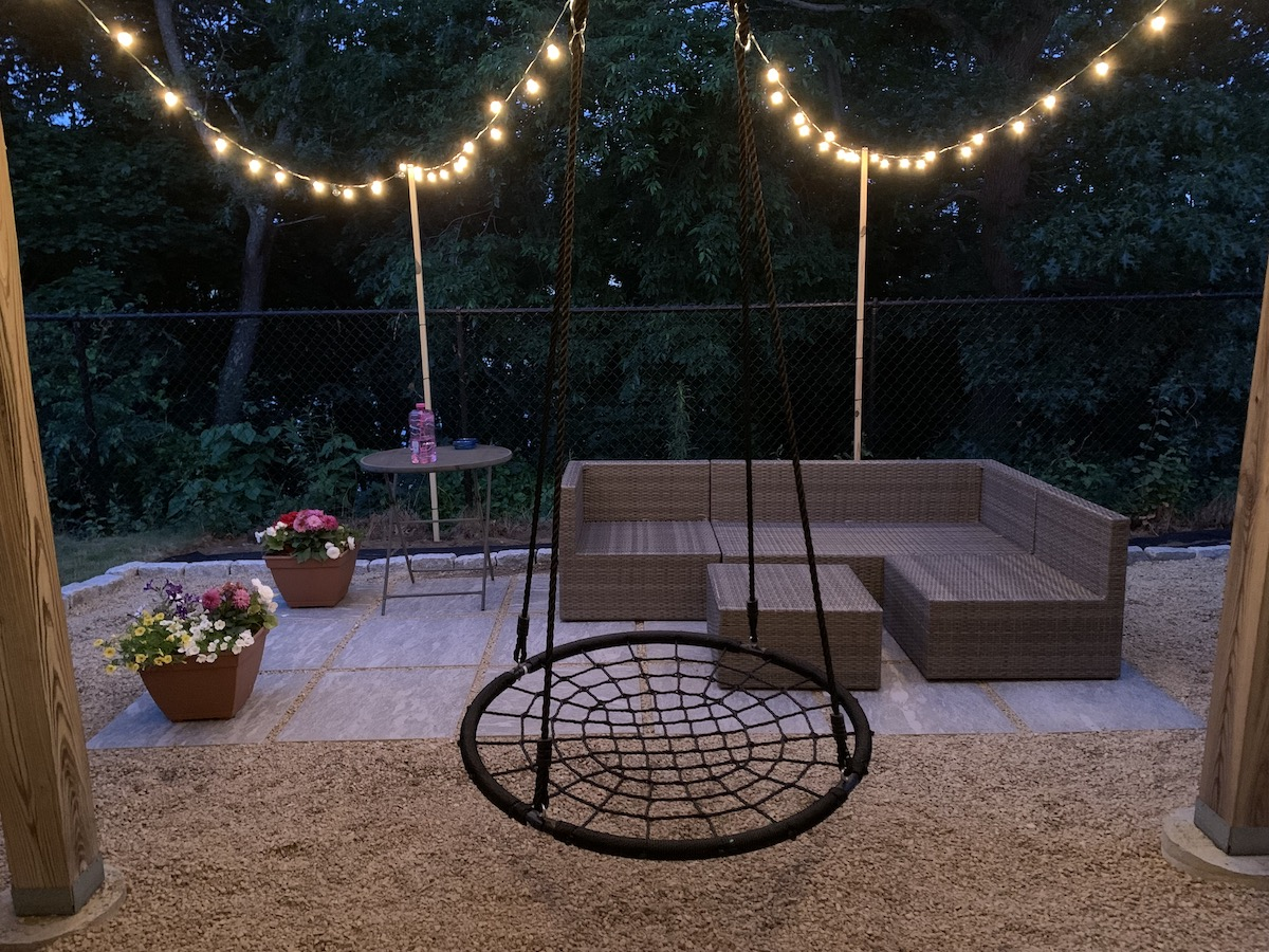 Close up photo of the patio in our backyard at night.