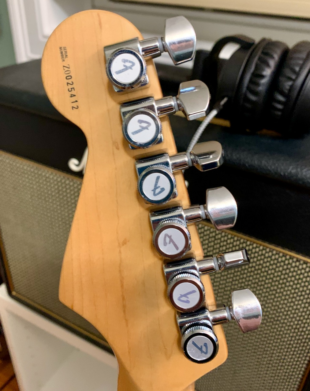 Picture of the back of the headstock of the guitar with locking tuners
