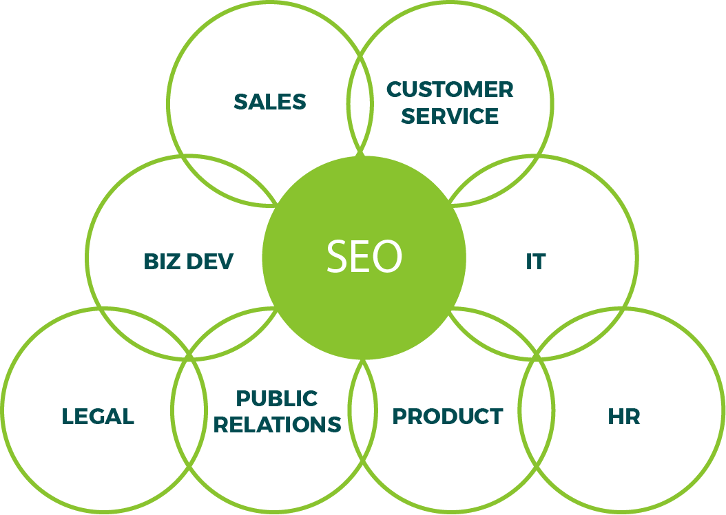 Diagram of how SEO platforms inform all parts of a business