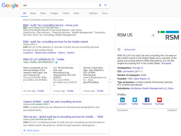 After the transition, search results were aligned with the new RSM US LLP branding.