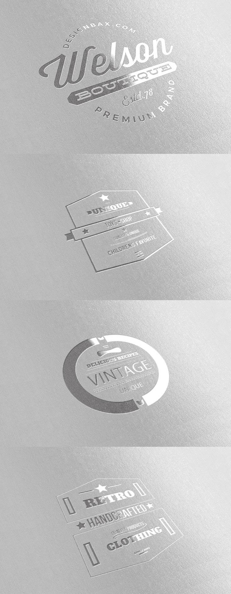 Metallic Silver Logo Mock Up