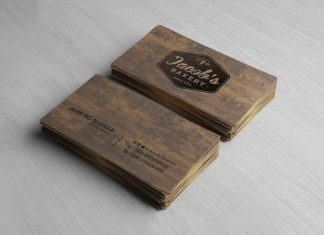 Free Wooden Business Card Mockup PSD