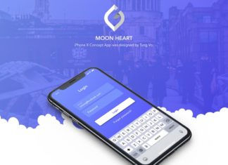 Moon Heart Mobile App Social Images Sharing XD