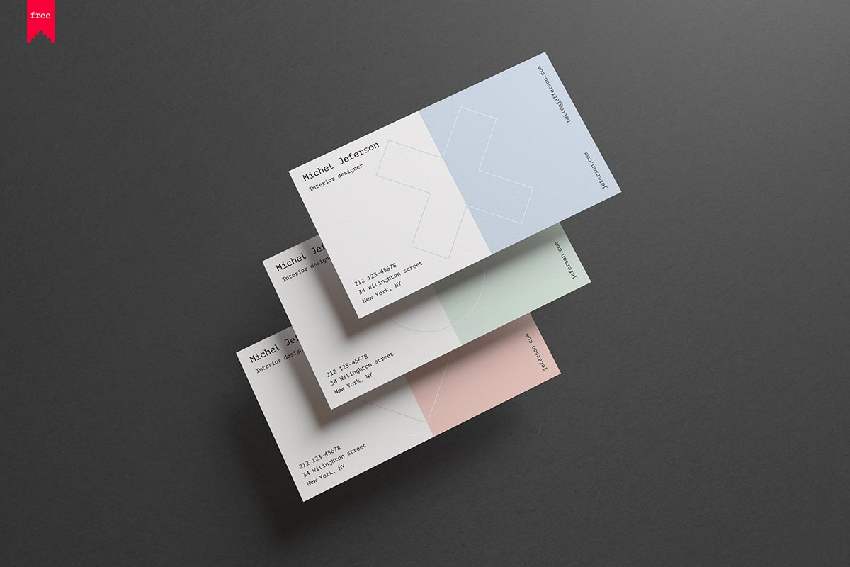 Free Horizontal Business Cards Mockup