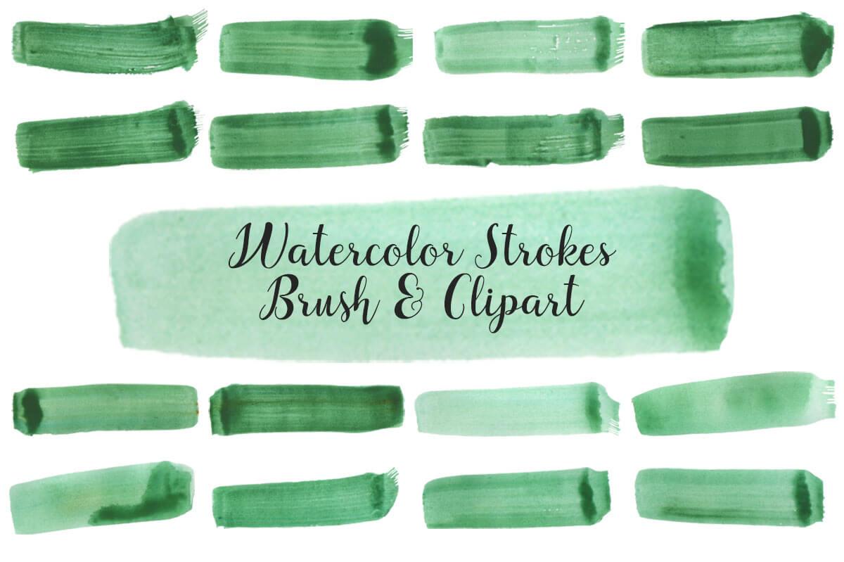 Free Watercolor Strokes Brush Cliparts