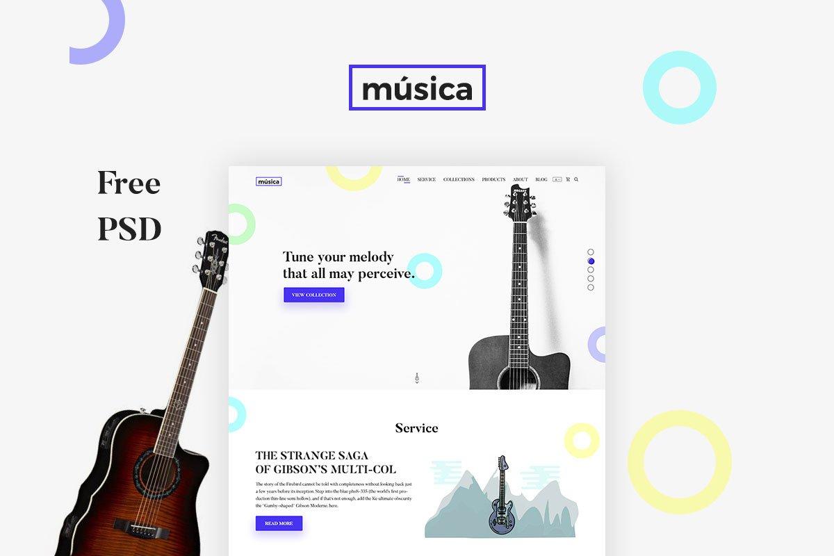 Free Musica Guitar Store Design PSD Template
