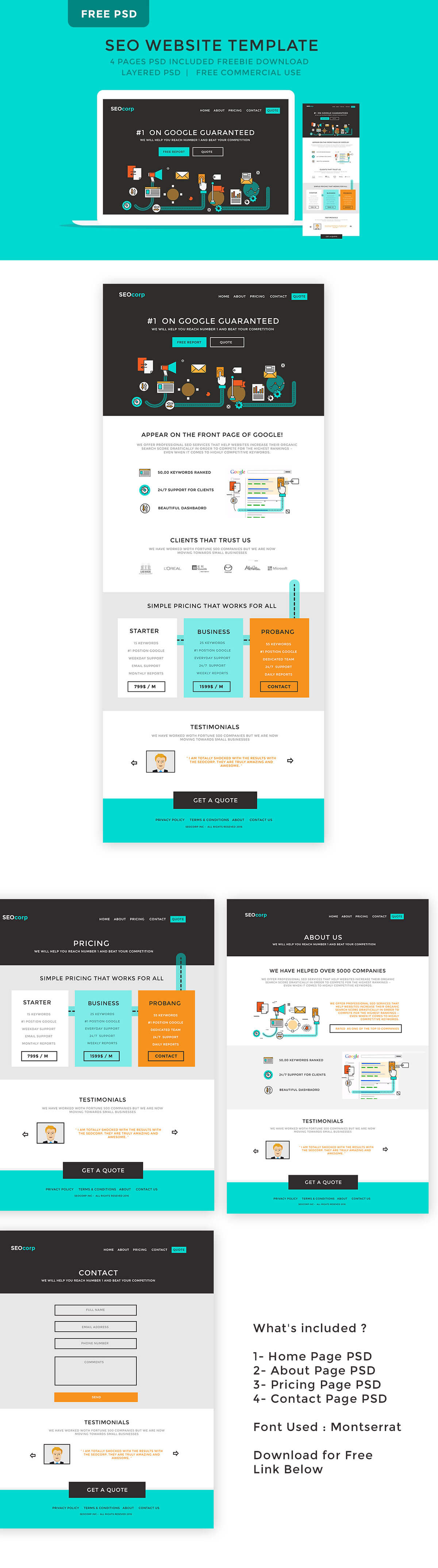 Free SEO Website PSD Template