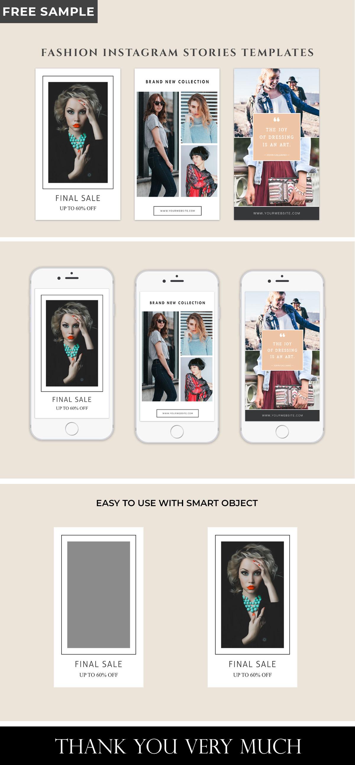 3 Free Fashion Instagram Stories Templates