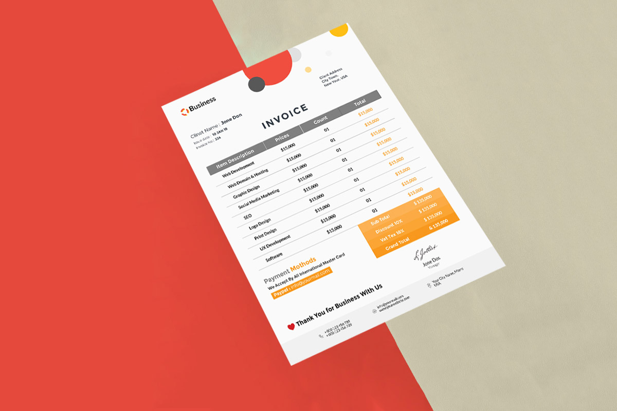 Free Minimalist Invoice PSD Template