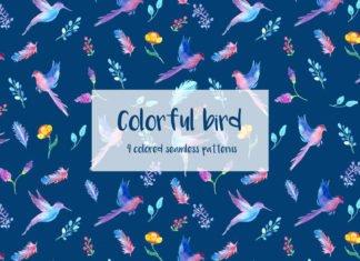 Free Colorful Bird Illustration Vector Pattern