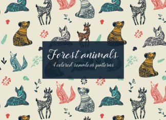 Free Forest Animals Vector Seamless Pattern