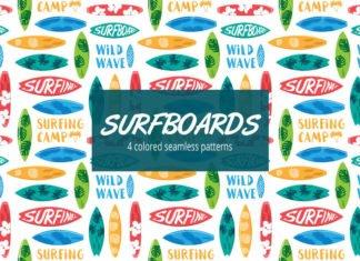 Free Surfboard Vector Seamless Pattern