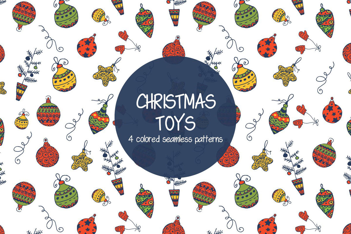 Free Christmas Toys Illustration Vector Pattern